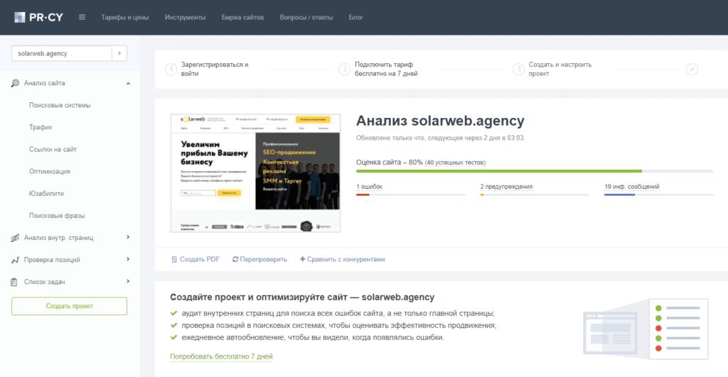 Пример анализа сервиса pr-cy.ru