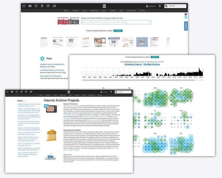 Проверить историю домена онлайн с помощью Web.archive.org